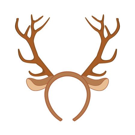 headband: Reindeer mask. Funny christmas reindeer horns illustration.
