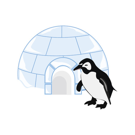 ice brick: illustration snow or ice house igloo and penguin. House made from ice blocks