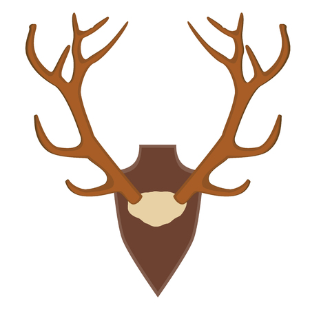 large skull: illustration of deer, antler horns. Animal horn