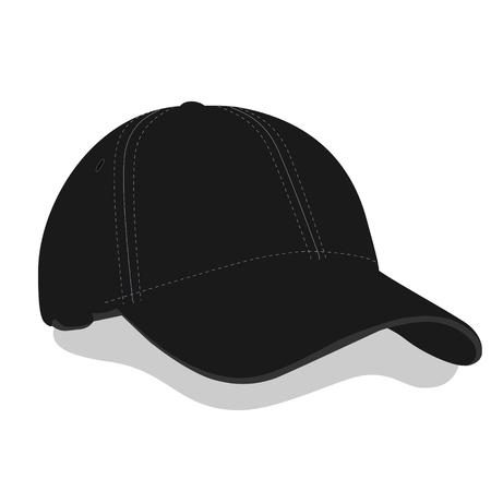 baseball caps: illustration black baseball cap or hat with shadow. Baseball cap icon