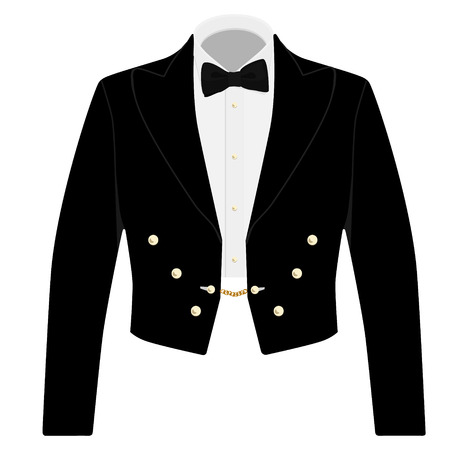 formal: Gentleman black suit with bow tie for offical reception. Elegant formal businessman jacket