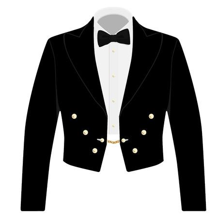 bata blanca: Traje negro Caballero con pajarita para la recepci�n oficial. Elegante chaqueta formal de negocios