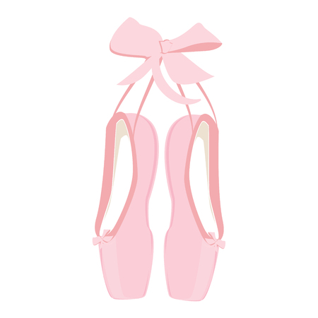 pointes: illustration hanging pink ballet pointe. Pointes shoes. Illustration