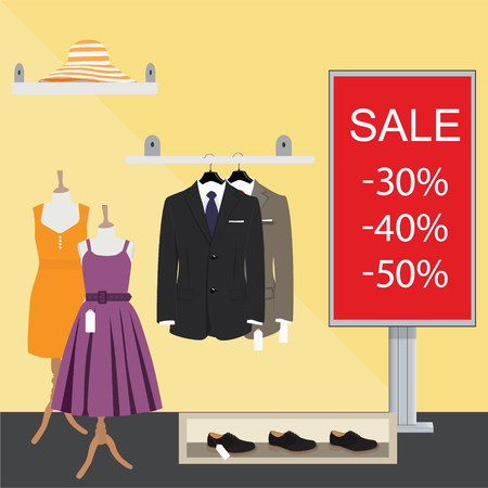 clothes shop: Clothing store. Man and woman clothes shop and boutique. Shopping, fashion, hat, accessories. Sale and discount time