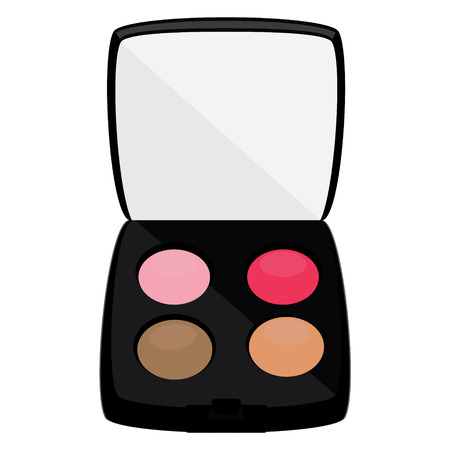 proffesional: Proffesional cosmetics. Colour eyeshadows palette illustration. Multicolored eye shadows with a mirror