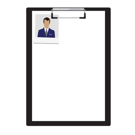 conformity: illustration black clipboard with white empty paper and male portrait photo.