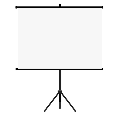 projector screen: illustration blank white realistic projector screen. Projector screen flat icon