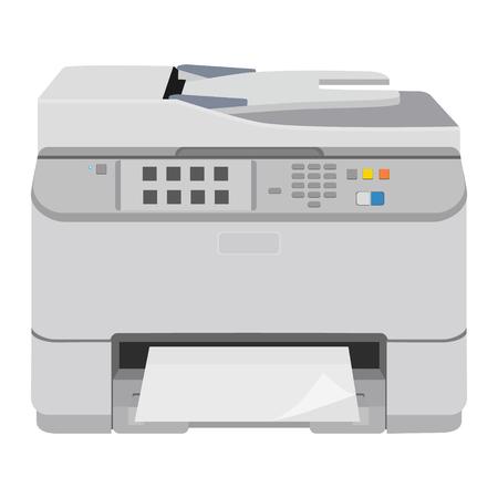 illustratie realistische printer en scanner. Printer flat icoon.