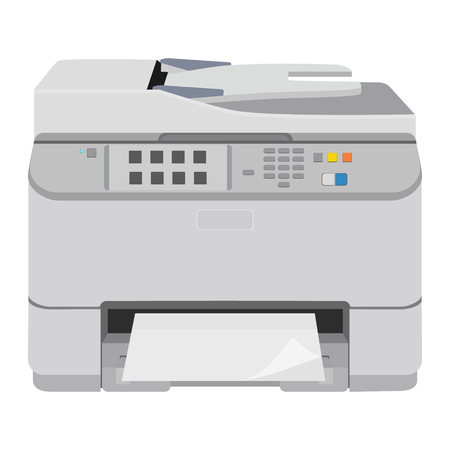 multifunction printer: illustration realistic printer and scanner. Printer flat icon.