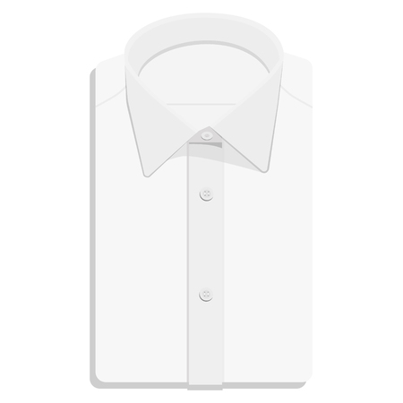 ironed: Man or businessman white folded shirt illustration. Shirt flat icon