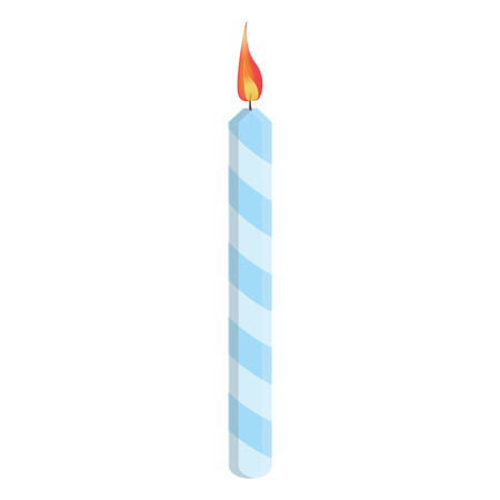 blue flame: Blue striped birthday candle with flame illustration. Place on cake