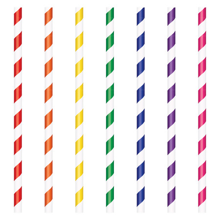 illustration colorful cocktail drinking straws set Illustration