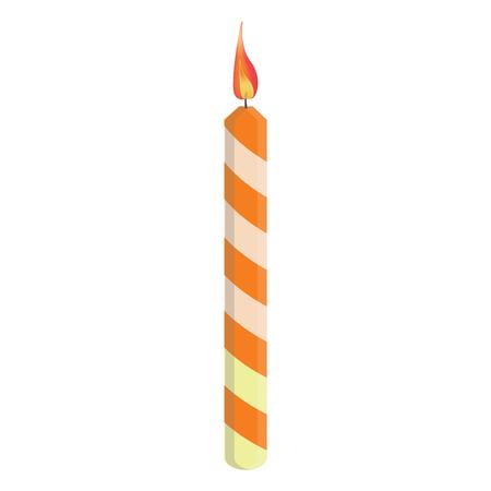 orange cake: Orange striped birthday candle with flame illustration. Place on cake