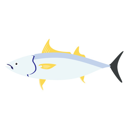 spearfishing: illustration of tuna fish symbol, icon. Fishing template. Sea fish