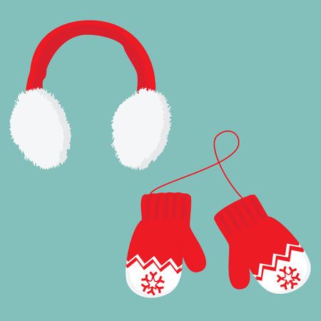 ear muffs: illustration red and white ear muffs and pair of knitted winter mittens on blue background. Christmas greeting card with mittens