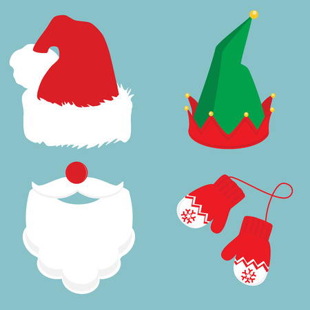 Merry christmas icon set Santa Claus, gnome hat and winter mittens. Santa Claus beard, mustache, red nose and hat on blue Illustration