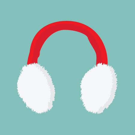 oreja: ilustración roja y orejeras blancas icono sobre fondo azul Vectores