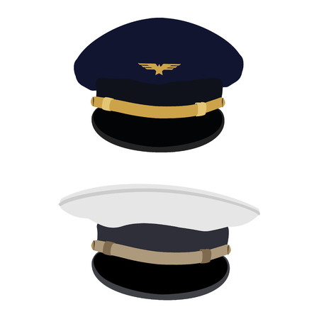 aircrew: illustration blue pilot cap with badge and white captain navy hat or cap. Uniform. Civil aviation and air transport. Illustration