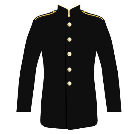 rank: illustration first responder uniform with high collar, rank insignia and golden buttons. Officer, policeman uniform