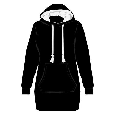 hooded sweatshirt: illustration black unisex sport jacket with long sleeves, pocket and hood. Hoodie shirt template