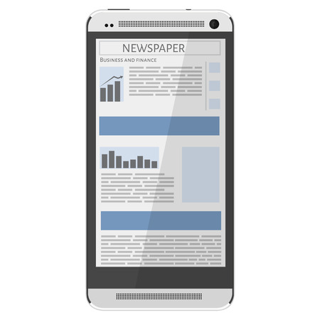 online news: Mobile news concept. Smartphone and newspaper. Reading online news on smartphone concept. Flat design.