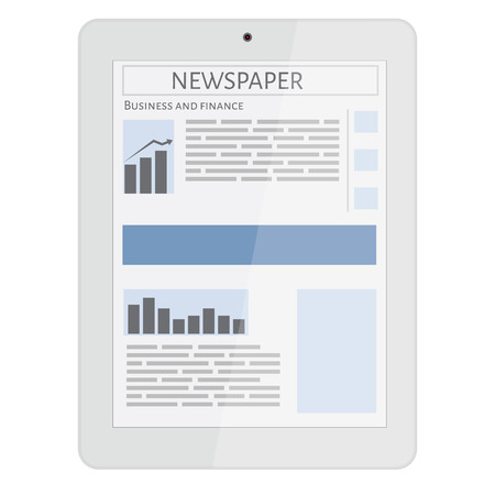 person reading: Business newspaper on tablet. Mobile news concept. Tablet and newspaper. Reading online news on tablet concept. Flat design.