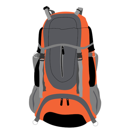Grey and orange travel backpack vector isolated, travel equipment