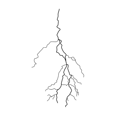 Vector illustration silhouette of thunderstorm lightning isolated on white background. Lightning icon, symbol