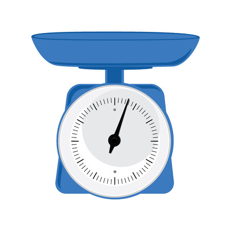 weight scale: Vector illustration blue weight scale on white background. Weighing scales with pan and dial  for weight measurement. Kitchen appliances or measuring tool Illustration