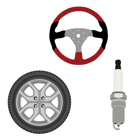 Vector icon set collection car parts.  Sport steering wheel, spark plug and wheel. Auto details