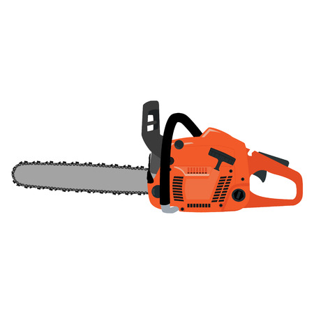 Vector illustration realistic chainsaw. Petrol chain saw. Professional instrument, working tool. Chainsaw icon Vectores