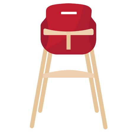 movable: Vector illustration red baby chair for feeding. High wooden chair.