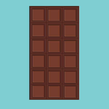 dark chocolate: Vector illustration black, milk chocolate bar isolated on blue background. Dark chocolate. Chocolate bar icon Illustration