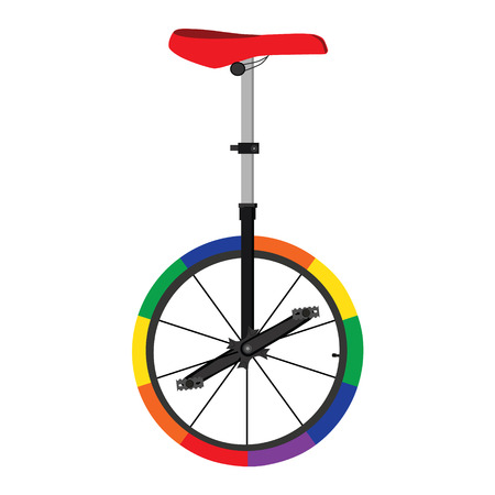 circus performers: Vector illustration unicycle or one wheel bicycle. Cartoon flat icon. Circus colorful bicycle