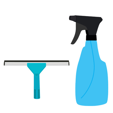 squeegee: Vector illustration blue rubber window glass squeegee, cleaner and bottle with spray. Cleaning supplies
