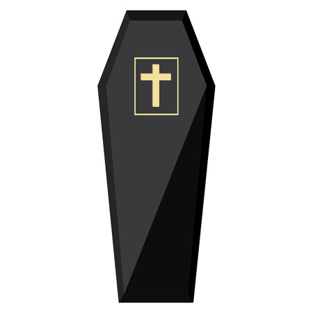 trumna: Vector illustration elegant black coffin with cross. Closed coffin Ilustracja