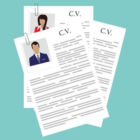 Vector illustratie curriculum vitae met vrouw en man polaroid foto. CV op een blauwe achtergrond. Sollicitatiegesprek concept met cv CV