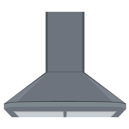 symbol: Vector illustration metallic extractor kitchen hood. House appliance. Cooker hood