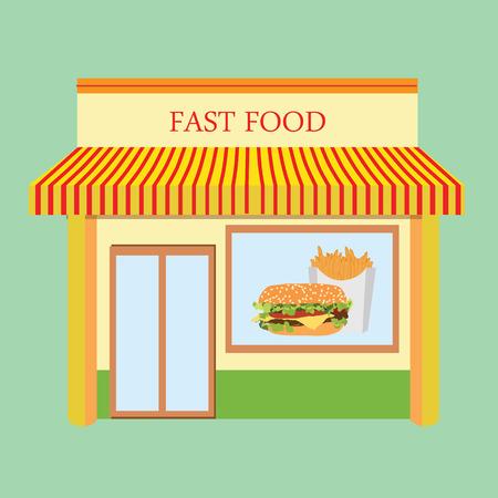 Vector illustration fast food restaurant facade building design. Fast food cafe Vektoros illusztráció