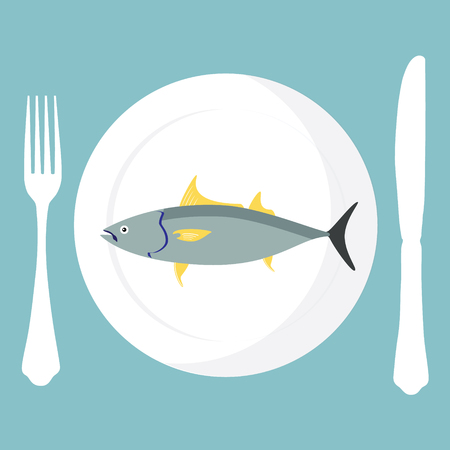 tuna fish: Vector illustration cooked tuna fish on plate with fork and knife on blue background