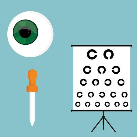 Vector illustration optical ophthalmology icons set, symbols. Eyeball, eye dropper and eye test