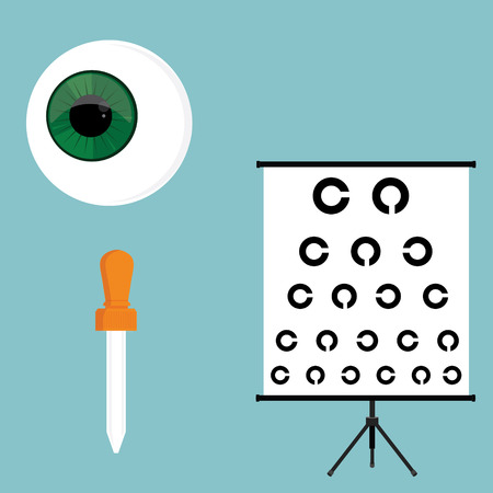 ophthalmology: Vector illustration optical ophthalmology icons set, symbols. Eyeball, eye dropper and eye test