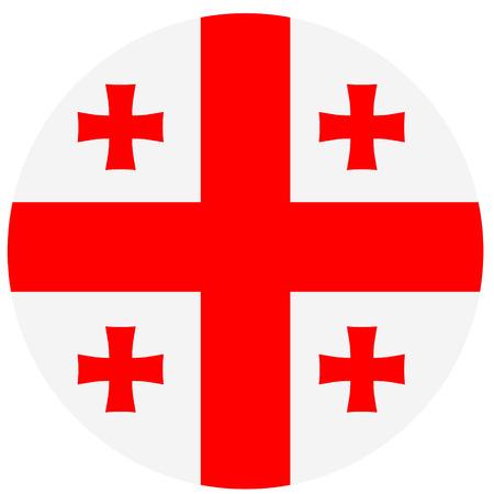 georgian: Vector illustration round flag of Georgia country. Georgian flag. Button or badge Illustration