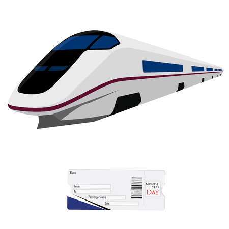 high speed: Vector illustration modern high speed train and passengers ticket. Fast train. Vehicles  to carry large numbers of passengers. High speed rail Illustration