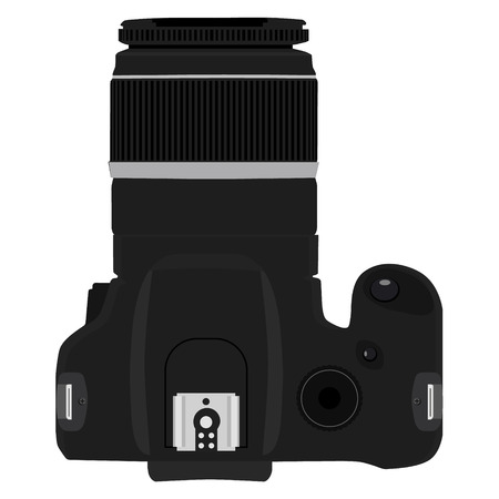 slr camera: Vector illustration slr camera top view. Illustration