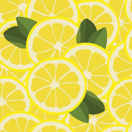lemon fruit: Vector illustration seamless pattern with lemon slice and green leafs.  Illustration