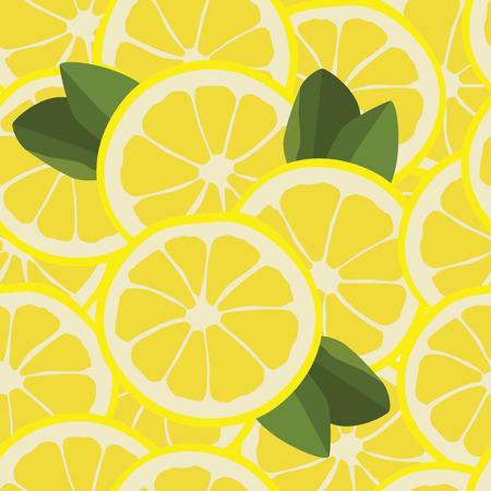 lemon slice: Vector illustration seamless pattern with lemon slice and green leafs.  Illustration