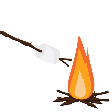 wooden stick: Vector illustration marshmallow on wooden stick roasting on campfire. Bonfire with marshmallow