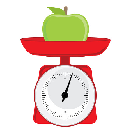 weight scale: Vector illustration red weight scale with green apple. Illustration