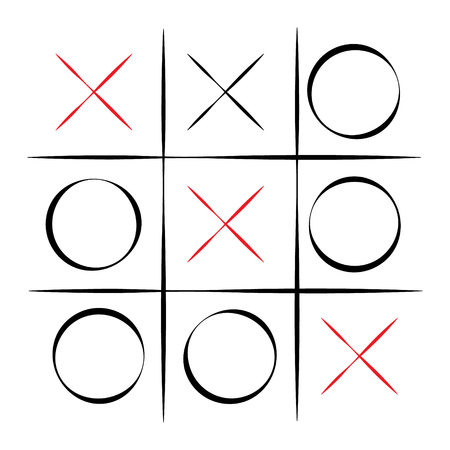 x games: Vector illustration tic tac toe simple game. XO game. Hand drawn tictactoe game